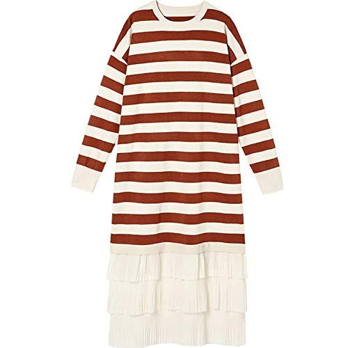 SATIWHYU Vestidos de Maternidad Vestido de Maternidad suéter de Punto de Rayas Sueltas de Moda de otoño e Invierno