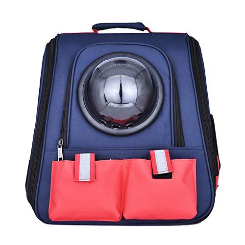 PRICH® Mochila para mascotas Mochila para gatos y gatos, transpirable, bolsa de hombro para mascotas para perros pequeños, gatos, cápsula espacial, astronauta (azul)