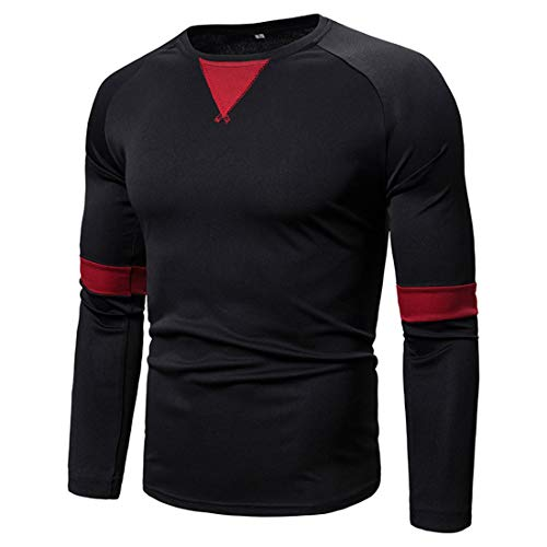 T-Shirt Uomo Regular Fit Manica Lunga Girocollo Felpa Running Fitness Sport Running Top Primavera E Autunno Moda Casual Boutique Felpa Leggera -A-Black 3XL