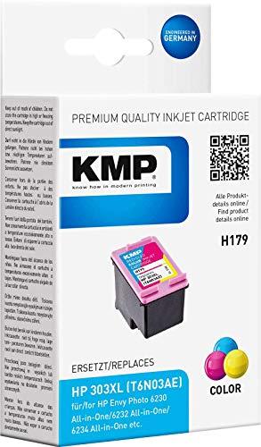 KMP Druckerkartusche HP 303XL (T6N03AE) Kompatibel Farbig Tintenpatrone für Envy Photo 6230, 6232, 6234, 7830, 7130, 7134, 6220 All-in-one Druckerpatrone (3-Farbig)