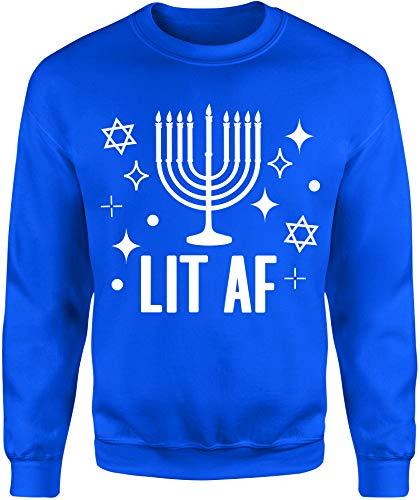 NoBull Woman Apparel Lit AF Men's Hanukkah Ugly Sweater Crew Neck (Blue, Medium)