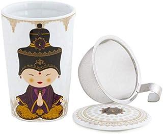 La Cija Delicatessen Tisana de Porcelana con Filtro de Acero Inoxidable 11x7.9x10.9 cm Blanco