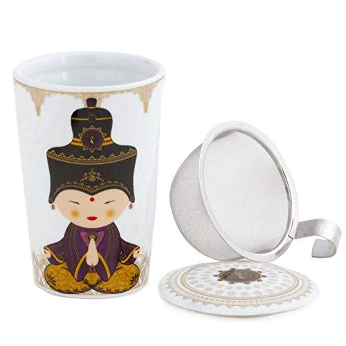 Aromas de Té - Taza de Té con Filtro y Tapa - Tisana Infusiones y tes de Porcelana - con Infusor de Acero - Diseño Geisha Violeta