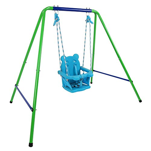 Jlong Toddler Swing Playset, Heavy Duty A-Frame Metal Swing Stand, Baby Indoor Outdoor Swing Set with Safety Harness for Garden, Backyard(9-36 Months)