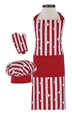 Handstand Kitchen Child's Popcorn Aplenty Print 100% Cotton Apron, Mitt and Chef's Hat Gift Set