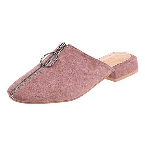 Pumps blokhak zwart Dasongff dames elegante sandalen Slingback enkele schoenen met ritssluiting gesloten flip-flops