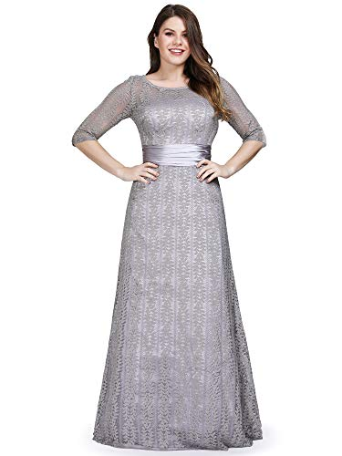 Ever-Pretty Women's Illusion Half Sleeve Floral Lace Evening Dresses Plus Size Gray US6