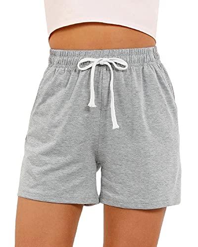 CMTOP Pantalones Cortos Verano de Pijama Algodón Salón Shorts a Rayas Pantalones de Pijama Mujer Cortos de Algodón Elástico Cintura Suave con cordón Pijamas de salón Parte Inferior de chándal