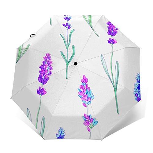 Regenschirm Taschenschirm Kompakter Falt-Regenschirm, Winddichter, Auf-Zu-Automatik, Verstärktes Dach, Ergonomischer Griff, Schirm-Tasche, Lavendel Blumenstrauß
