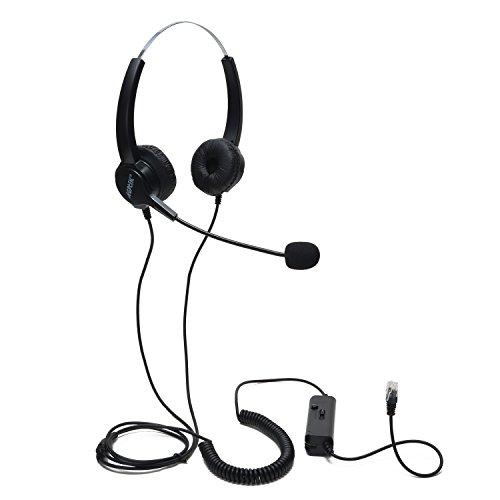El Centro de llamadas, AGPtek Binaural Auriculares con Cancelación de Ruido Micrófono con cable y escritorio de cristal cabeza RJ9 4 contactos teléfono-servicios de consultoría por teléfono, seguros, bancos, hospitales, empresas, etc..
