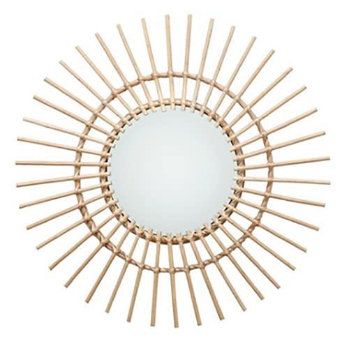 Espejo De pared para Montar En La Pared De Mimbre Para Sala De Estar Dormitorio Oficina (Diámetro=39.9 cm)