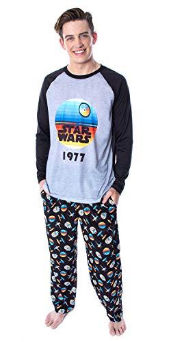 Star Wars Men's Pajamas Star Wars 1977 Raglan Shirt And Lounge Pants 2 PC Sleepwear Pajama Set (Small)