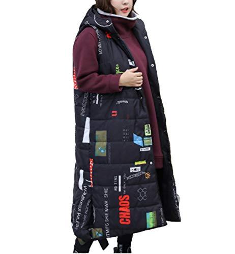 GL SUIT Vrouwen Grote Maat Taillejas Hooded Lange Gilet Gewatteerde Vest Body Warmer Meisjes Mouwloos Jas Winterjas Vest Bovenkleding voor Reizen Wandelen