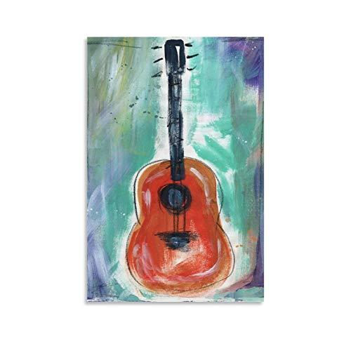xianfan Póster de guitarra de narrador de cuentos con lienzo decorativo para pared o sala de estar, dormitorio, 90 x 60 cm