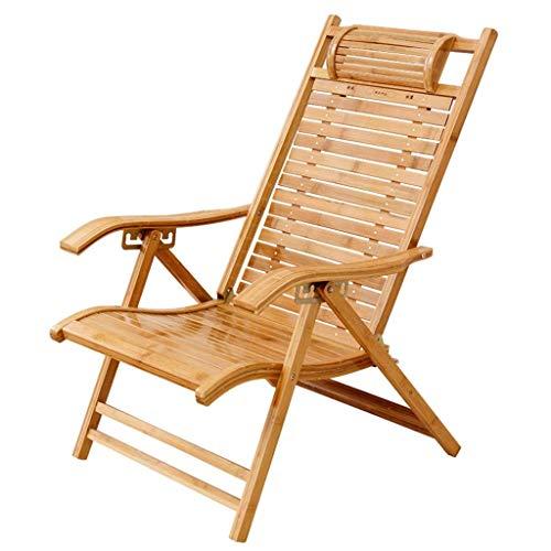YWTT Sillón reclinable de bambú, Respaldo Ajustable de 6 Posiciones, con reposacabezas y Almohadilla de algodón movible, sillón reclinable Plegable, Tumbona portátil para jardín, terraza, exterio