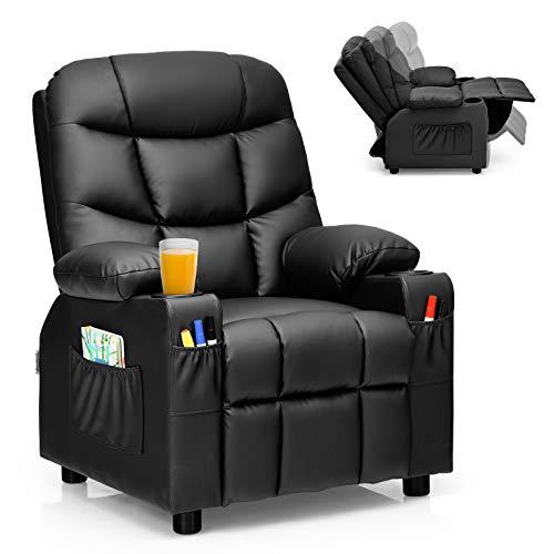Costzon Kids Recliner Chair with Cup Holder, Adjustable Leather Lounge Chair w/Footrest & Side Pockets for Children Boys Girls Room, Ergonomic Toddler Furniture Sofa, Kids Recliner (Black)
