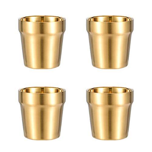 Doppelwandige Tassen(4er Set, Golden) Stapelbar, Kaffeetasse/Teetasse/Chillen Biergläser, Edelstahl Becher Ideal für Reisen, Outdoor, Camping, und Täglicher Gebrauch, 6Unze(175 ml)