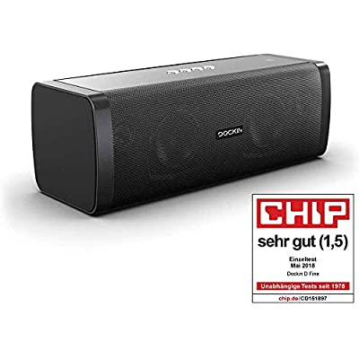 DOCKIN D FINE 50W Hi-Fi Bluetooth Speaker - Outdoor Approved, Superior 2-Way Stereo Sound up to 10h Playtime & Built-in Power Bank, NFC, Splash- & Dustproof IP55, black, Engineered in Germany from Dockin