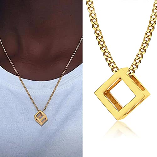 SONGK Collar Popular para Hombre, Colgante Triangular Cuadrado Entrelazado, Colgante Masculino de Acero Inoxidable, Collares geométricos Modernos de Moda, joyería