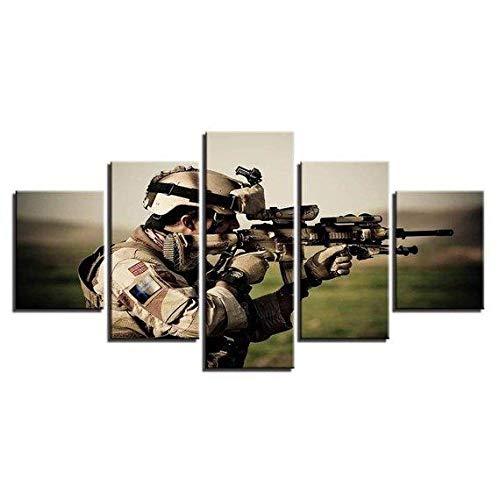 ZHONGZHONG 5 Cuadros En Lienzo Marco De Fotos De Madera Mural Moderno Cuadro Sniper Sniper Call of Dut - Juegos Salón, Dormitorio, Cocina. Decorativo Imagen 60X32 Pulgadas / 150X80 Cm