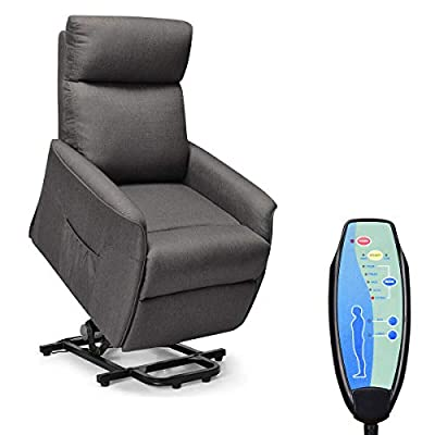 Giantex Power Lift Recliner Chair for Elderly, Soft and Warm Fabric Sofa Chair, Heavy Padded Cushion, Remote Control, Home Theater Seating, Leisure Lounge w/Side Pocket, Living Room Office Furniture