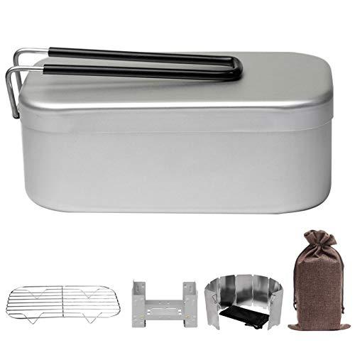 Juego de fiambrera para acampar, caja Bento portátil con soporte para estufa, rejilla para vaporizar y vajilla, ligera y compacta, fácil de transportar para montañismo, senderismo, caza, super