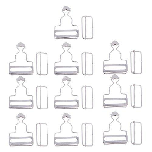Fliyeong 10 Sätze Metallspange Schnallen - Latzhose Clips mit Rechteck Schnalle Hosenträger für Trägerhose Kleider 3,5 cm - Silber, wie beschrieben langlebig und nützlich