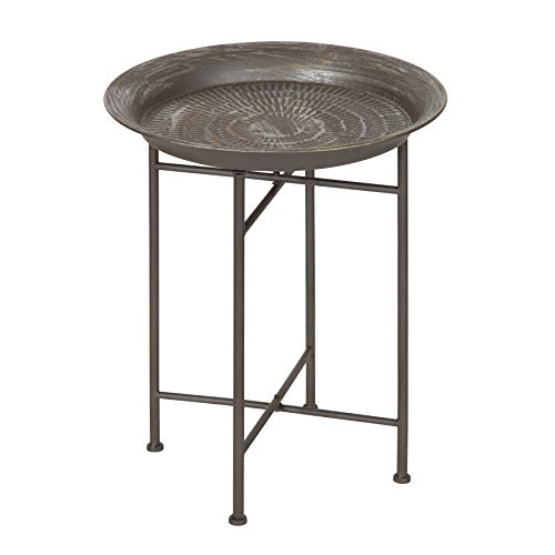 Kate and Laurel Mahdavi Round Hammered Metal Accent Table, 16.5' Diameter, Pewter