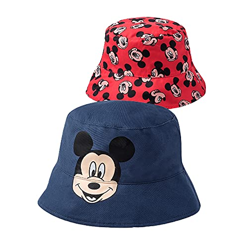 Disney Mickey Mouse Reversible Bucket Hat, Boys Ages 2-5, Blue, Red