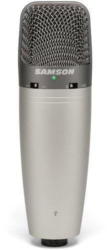 Samson SAC03UCW - Micrófono de condensador (de estudio, gran diafragma, conector USB), color plateado