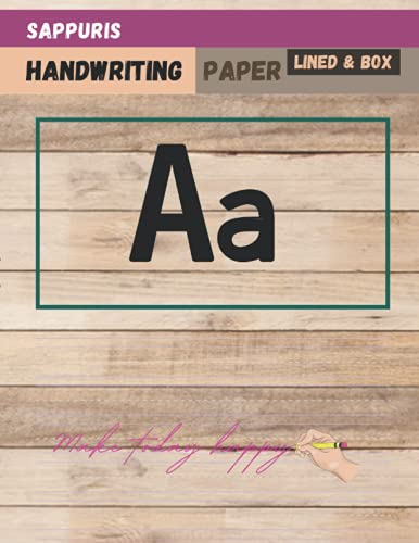 Sappuris Handwriting paper with Picture Box 120 pages, Old wood plank wall background old wooden uneven texture background cover