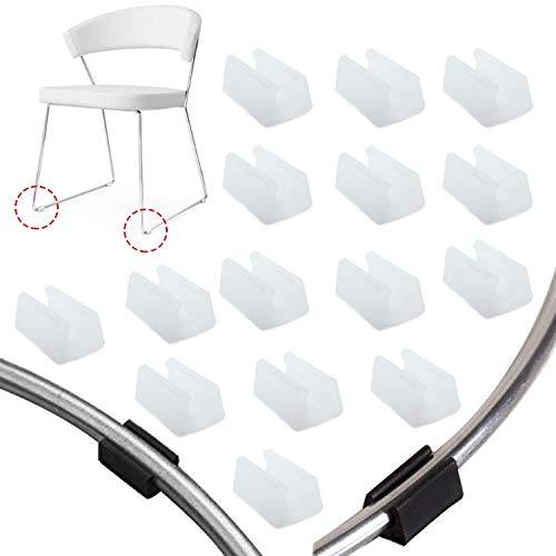 Zaky 15 Stück Plastic Chair Fußbodengleiter Schlauchkappen für Freischwinger Stuhlgleiter Bodenschongleiter Silencer Möbelgleiter Klemmschalengleiter Weiß(10 mm)