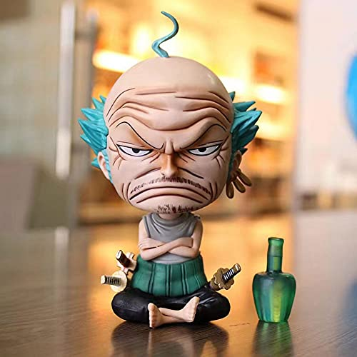 JINFENFG One Piece GK Anciano Zoro Roronoa Zoro Figura de Anime Postura sentada Bad Old Man Calvo Anciano 14CM (5.516in) / Estatua estática de PVC/Una colección Favorita de fanáticos del Anime y OTA