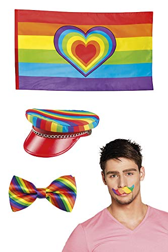 Marco Porta Juego de fiesta arco iris con bigote, gorro, pajarita, bandera, accesorios para disfraz