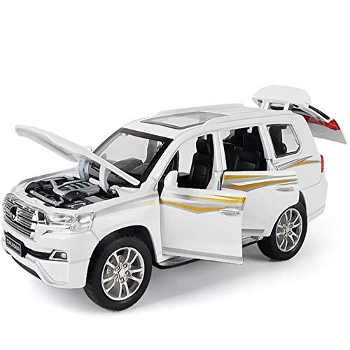 1/32 Escala para Toyota Land Cruiser Simulación De Aleación De Zinc Modelo De Fundición De Troquelaje Y Luz Tirante De Juguete Juguetes Juguetes para Niños Modelo De Auto (Color : White)