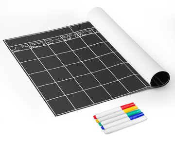 """OrgaNice Chalkboard Calendar - 24"""" x 18"""" - 5 Colored Liquid Chalk Markers - 50% Thicker Vinyl for Easy Application - Erasable, Reusable, Durable - Never Forget Your Meetings & Classes Again"""