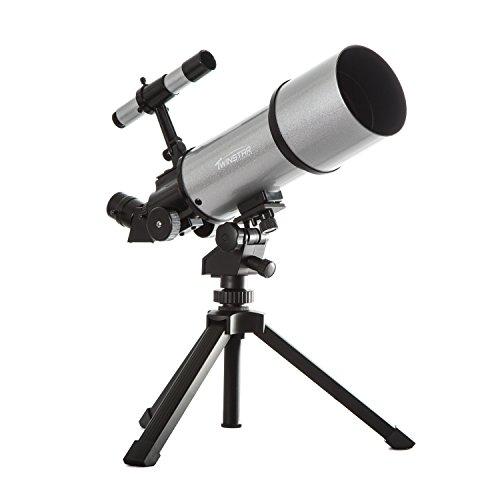 TwinStar 80mm Refractor Telescope 400mm Focal Length f/5.0 F | 25mm & 10mm Kellner Magnification...
