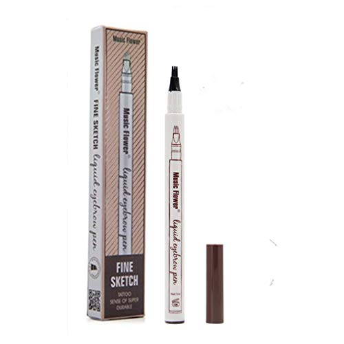 Tattoo Liquid Eyebrow Pencil con cuatro puntas de tenedor Impermeable y duradero Lápiz de cejas Ink Sketch Eyebrow Pen para Maquillaje Natural de Ojos(#2 Marrón)