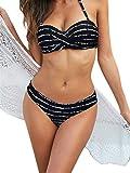 Ocean Plus Donna Bikini a Fascia Imbottiti Senza Spalline Costumi da Bagno a Righe Multicolore (XL (EU 40-42), Strisce Bianche Nere)