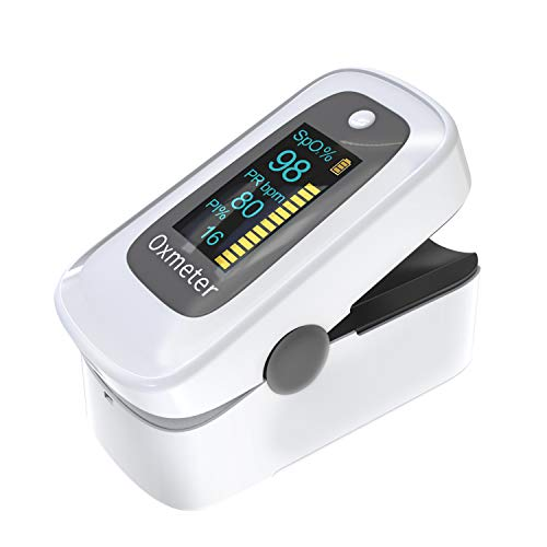 MomMed Oxímetro de pulso digital con alarma, lecturas precisas de SpO2, índice de perfusión, oxígeno en sangre, frecuencia del pulso, BPM, uso para atletas, aviación, personas mayores