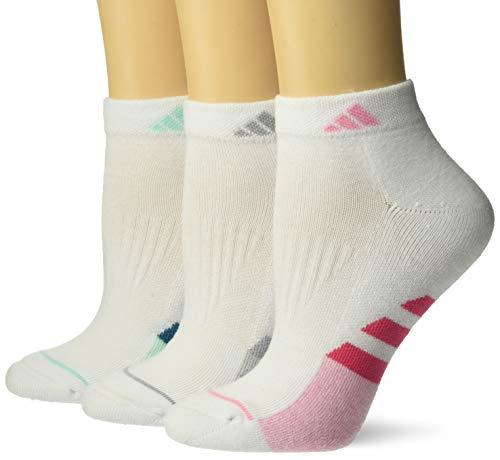 adidas Women's Cushioned Low Cut Socks (3-Pair), White/Real Pink/Light Pink/White - Light Pink Marl/C, Medium, (Shoe Size 5-10)