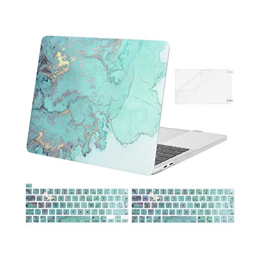 MOSISO Compatible with MacBook Pro 13 inch Case 2016-2020 Release A2338 M1 A2289 A2251 A2159 A1989 A1706 A1708, Plastic Watercolor Marble Hard Case & Keyboard Cover & Screen Protector, Green