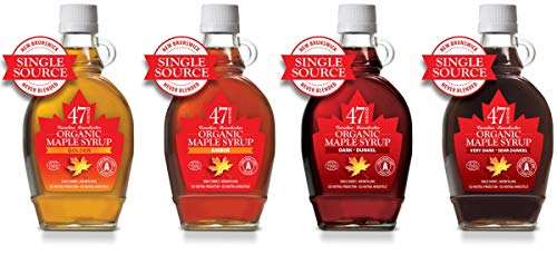 47 North QUADRIGA: Kanadischer SINGLE SOURCE Bio Ahornsirup, Golden, Amber, Dark & Very Dark, 4x250g
