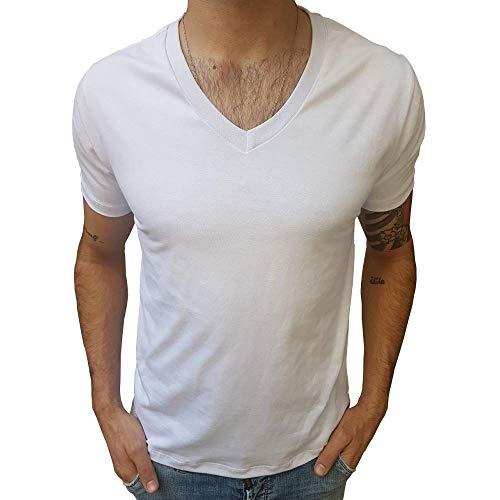 Camiseta Básica 100% Algodão 30.1 Gola V Média Manga Curta tamanho:p;cor:branco