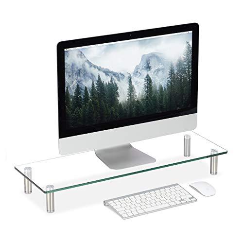Relaxdays Displayständer Glas, TV Aufsatz, Notebookständer höhenverstellbar 9 - 11 cm, B x T: 70 x 24 cm, transparent