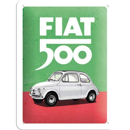 Nostalgic-Art 26254 - Fiat 500 - Italian Colours, metalen bord 15 x 20 cm