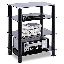 top rated TAVR 4-Layer Multimedia Component TV Stand Audio Video Tower Tempered Glass Shelf for TV, Xbox,… 2021