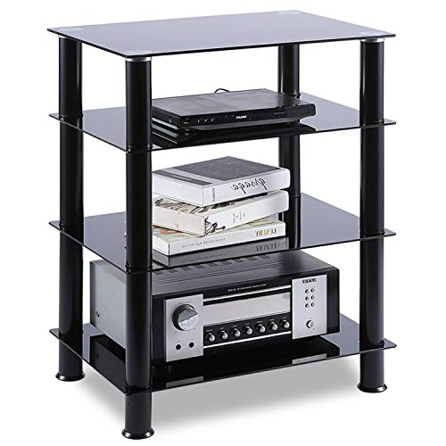 TAVR 4-Tiers Media Compontent TV Stand Audio Video Tower Tempered Glass Shevles for TV, Xbox, Gaming Consoles, Media Component, Streaming Device