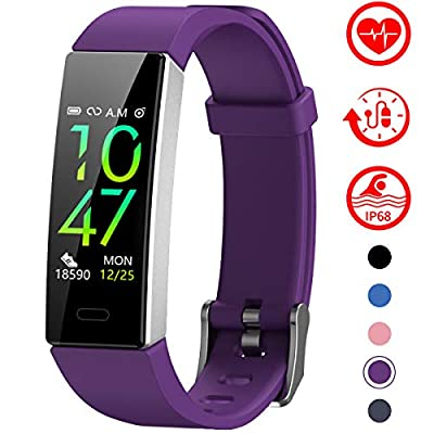 Mgaolo Fitness Tracker,2020 Version IP68 Waterproof Activity Tracker with Blood Pressure Heart Rate Sleep Monitor,10 Sport Modes Health Fit Smart Watch with Pedometer for Men Women (Silver Purple)