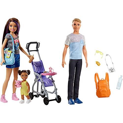 Barbie - Muñeca Skipper Hermana de Barbie, niñera de Paseo - (Mattel FJB00) + Vamos de Viaje, muñeco Ken con Accesorios, Regalo para niñas y niños 3-9 años (Mattel FWV15) , Color/Modelo Surtido